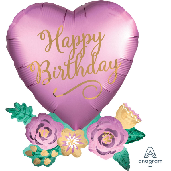 Happy Birthday Satin Heart with Flowers SuperShape Foil Balloon